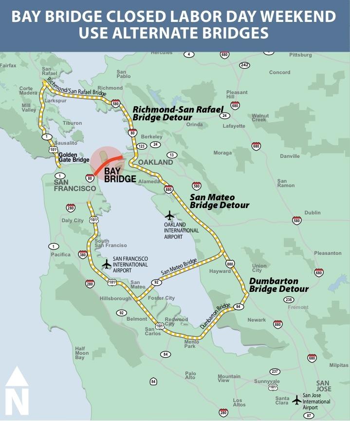 Esse mapa mostra todas as pontes da Bay Area, que podem ser usadas como alternativa à Bay Bridge.