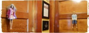 Detalhe diferente nas portas dos banheiros