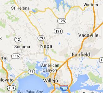 Dá pra ver a distância entre a cidade de Napa e St Helena?