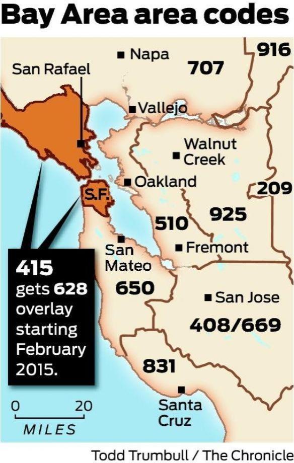 Códigos de área na Bay Area. Foto: SFChronicle