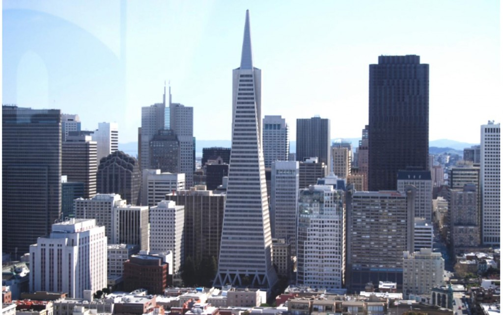 Transamerica Pyramid, vista do alto da Coit Tower