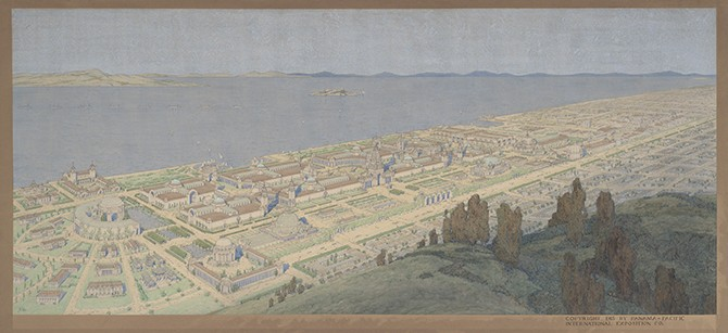Jules Guérin, Panoramic View of the Panama-Pacific International Exposition, 1913. Watercolor and opaque watercolor over graphite on paper. Collection of the Exploratorium, San Francisco
