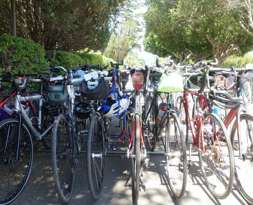 Todo o espaço atrás da pracinha virou estacionamento de bikes