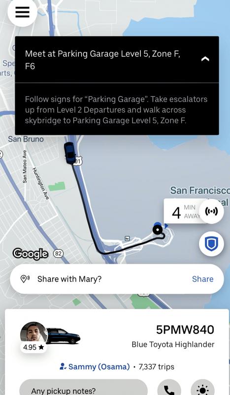 Como pegar o Uber em São Francisco (SFO) - Parking Garage Level 5 (App)