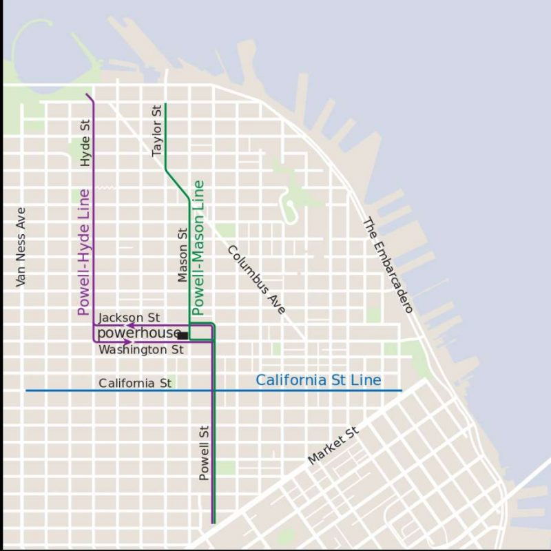 Mapa do Cable Car em San Francisco